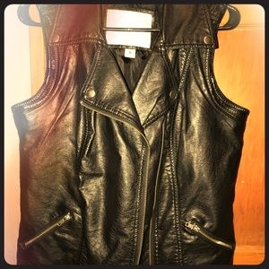 Black leather vest jacket